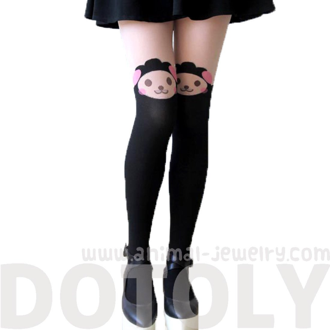 Adorable Sheep Alpaca Lamb Print Mock Thigh High Pantyhose Tights in Black