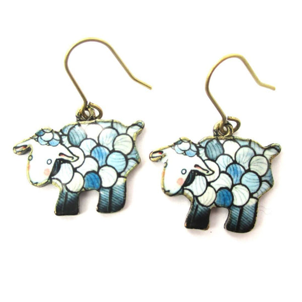 Sheep Shaped Illustrated Animal Dangle Earrings in Blue
