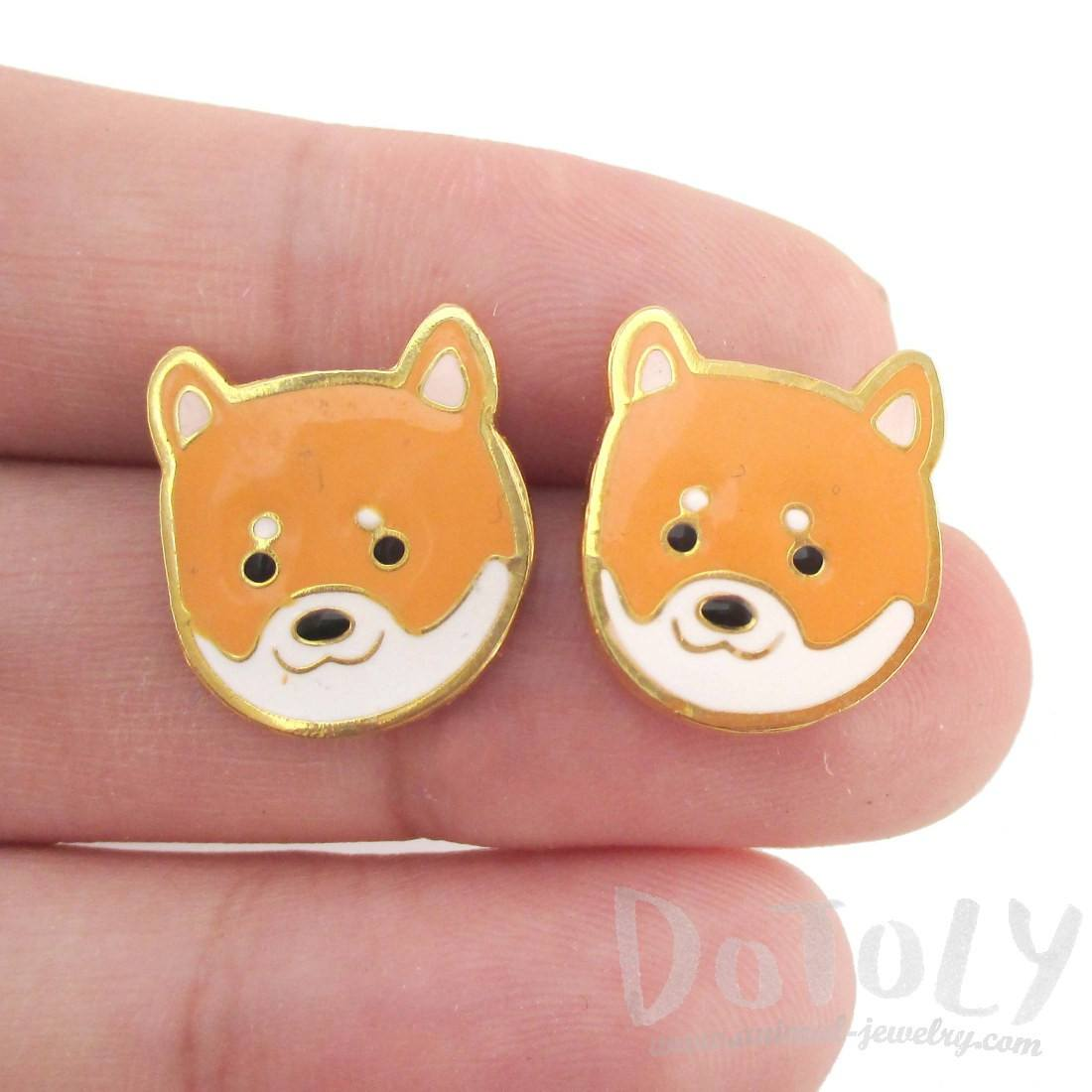 Adorable Shiba Inu Puppy Dog Face Shaped Stud Earrings | DOTOLY