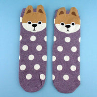 Shiba Inu Puppy Face With Polka Dots Pattern Cotton Socks in Purple