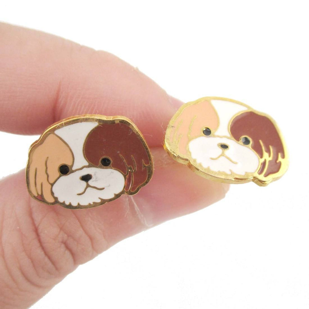 Adorable Shih Tzu Puppy Dog Face Shaped Stud Earrings | DOTOLY