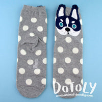 Siberian Husky Puppy Face With Polka Dots Pattern Cotton Socks in Grey