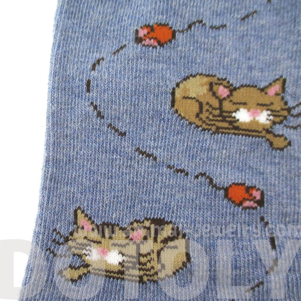 Sleeping Kitty Cat and Mice Novelty Print Socks in Blue