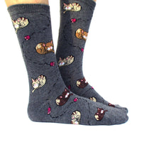 Adorable Sleeping Kitty Cats and Mice Novelty Print Long Socks in Grey