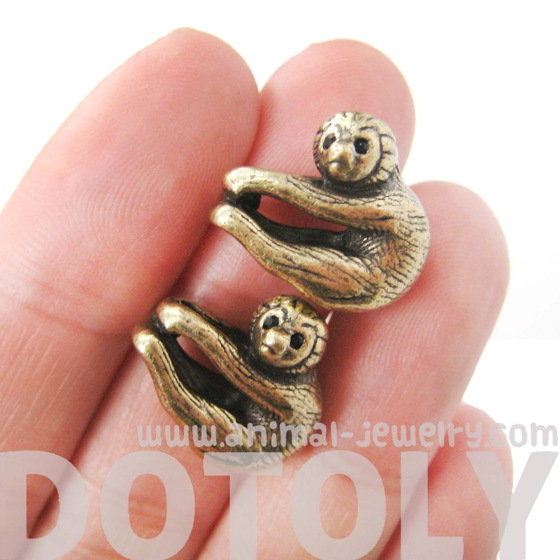 Adorable Sloth Shaped Animal Stud Earrings in Brass | DOTOLY