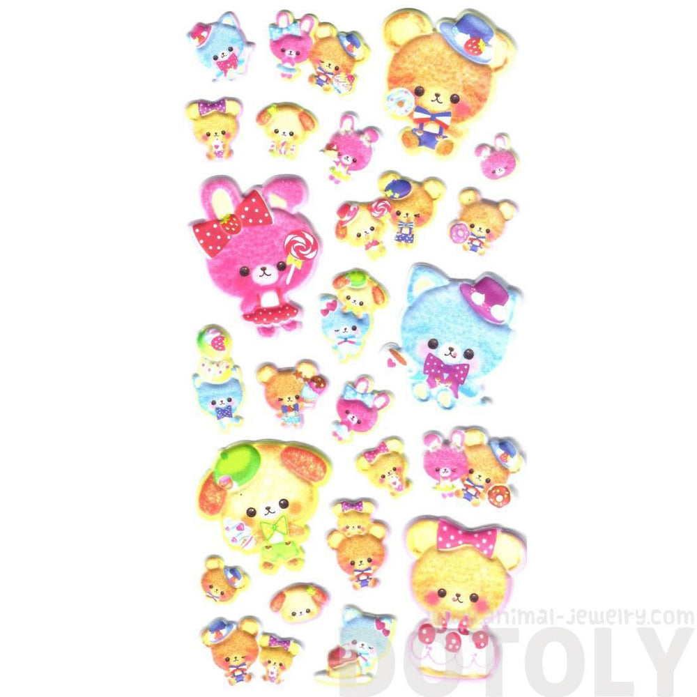 Adorable Teddy Bear and Bunnies with Bow Ties Animal Puffy Stickers