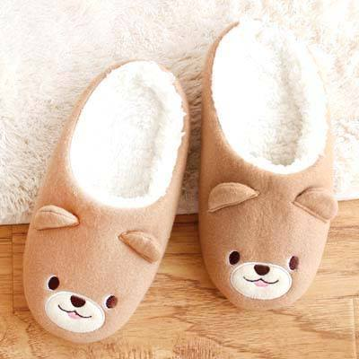 adorable-teddy-bear-animal-shaped-slip-on-slippers-for-women-in-brown