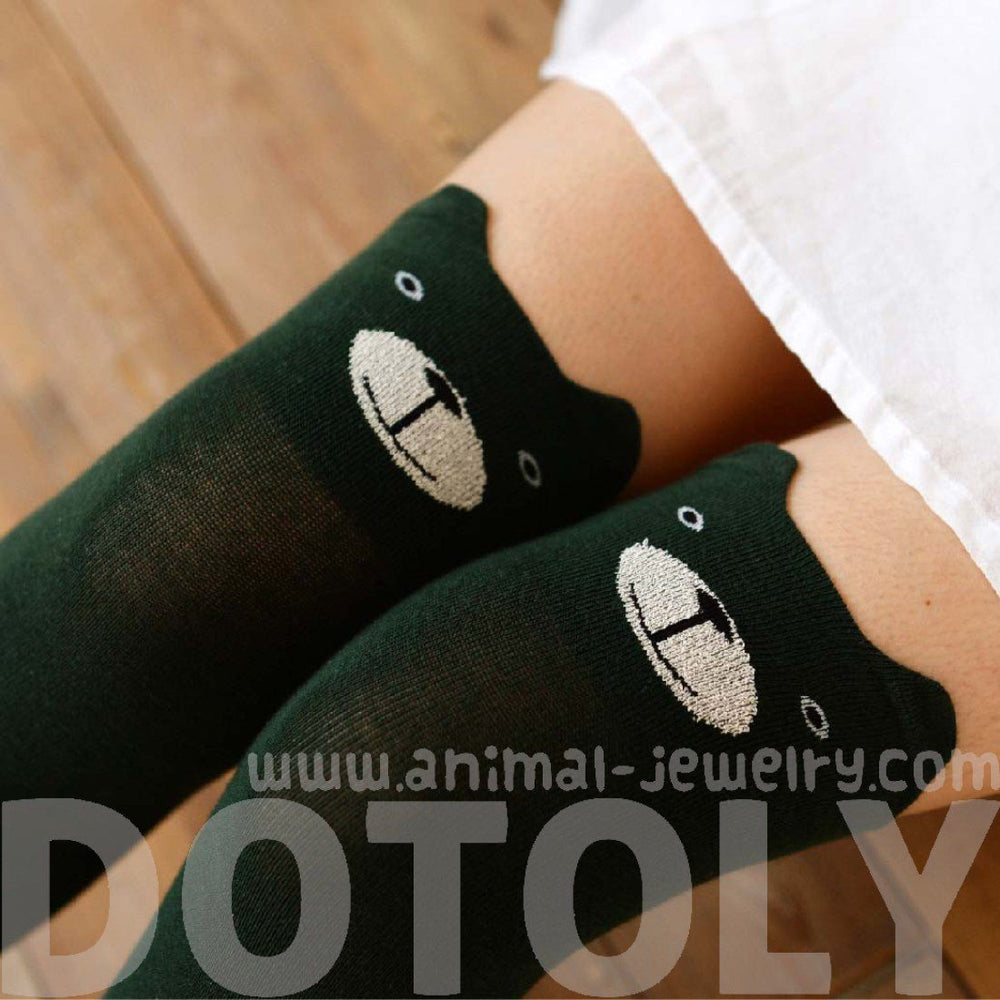 Green Teddy Bear Animal Themed Over the Knee Thigh High Cotton Socks