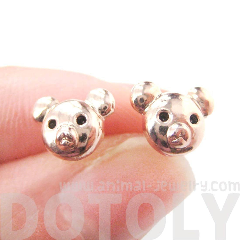 Adorable Teddy Bear Shaped Animal Themed Stud Earrings in Rose Gold