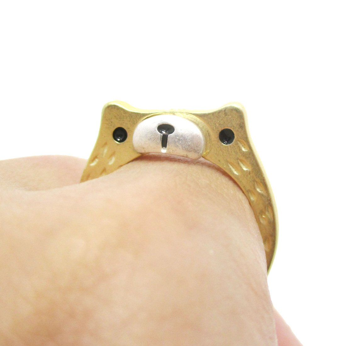 Adorable Teddy Bear Face Shaped Animal Ring in Gold