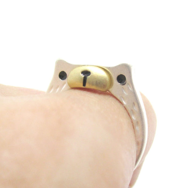Adorable Teddy Bear Face Shaped Animal Ring in Silver