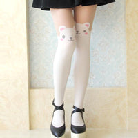 Adorable Teddy Bear Print Mock Thigh High Pantyhose Tights in White