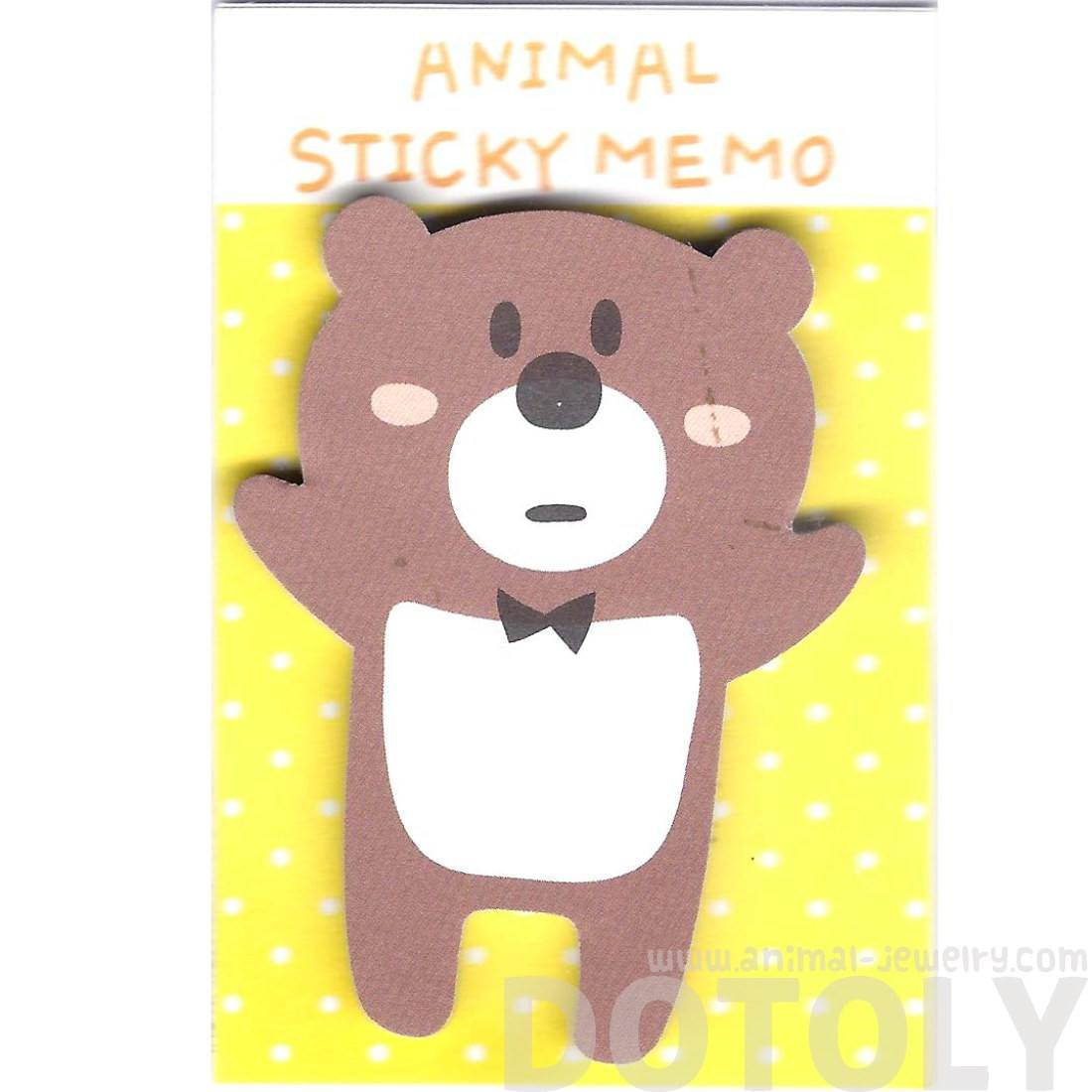 Adorable Teddy Bear Shaped Animal Cartoon Adhesive Post-it Memo Pad
