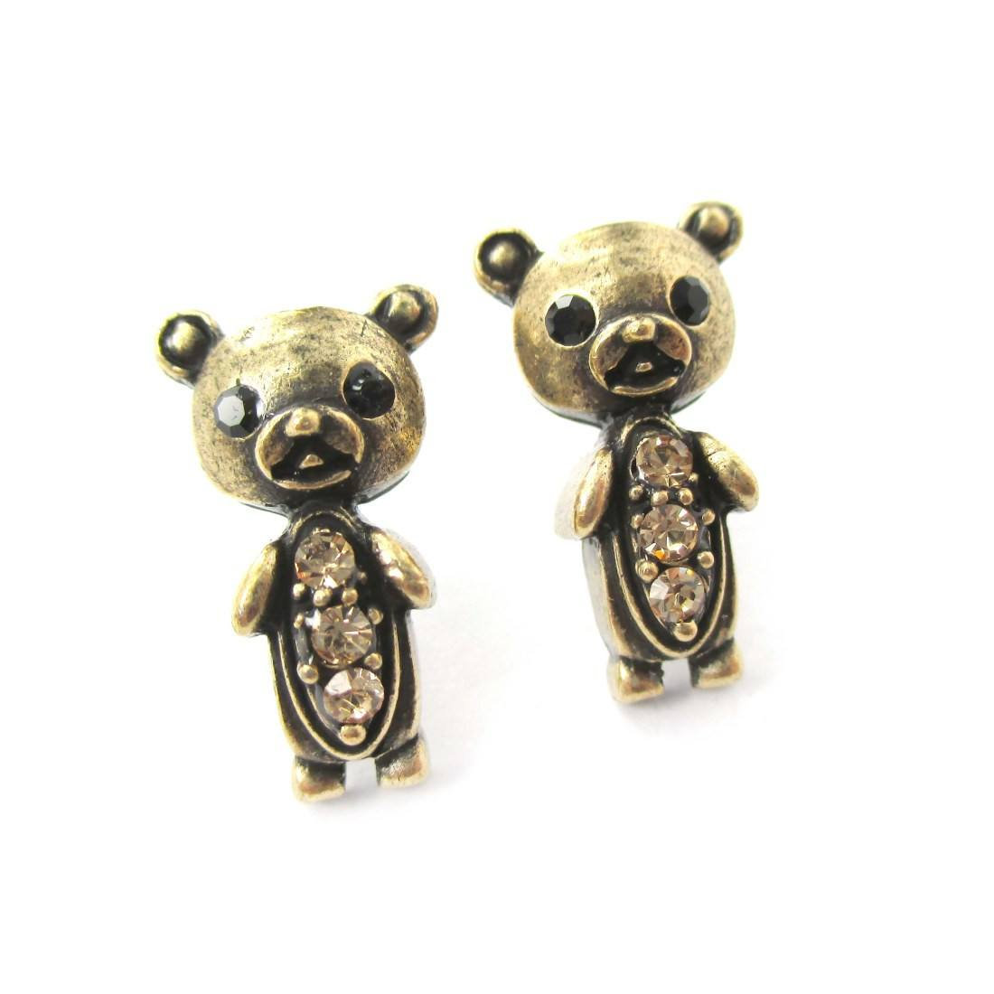 Adorable Teddy Bear Shaped Stud Earrings in Brass with Rhinestones
