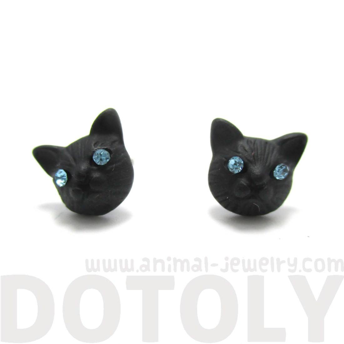Adorable Kitty Cat Face Shaped Stud Earrings in Black