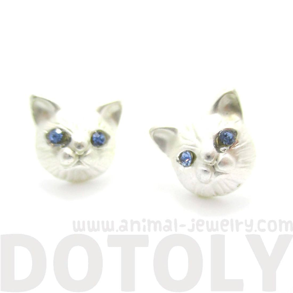 Adorable Kitty Cat Face Shaped Stud Earrings in Silver