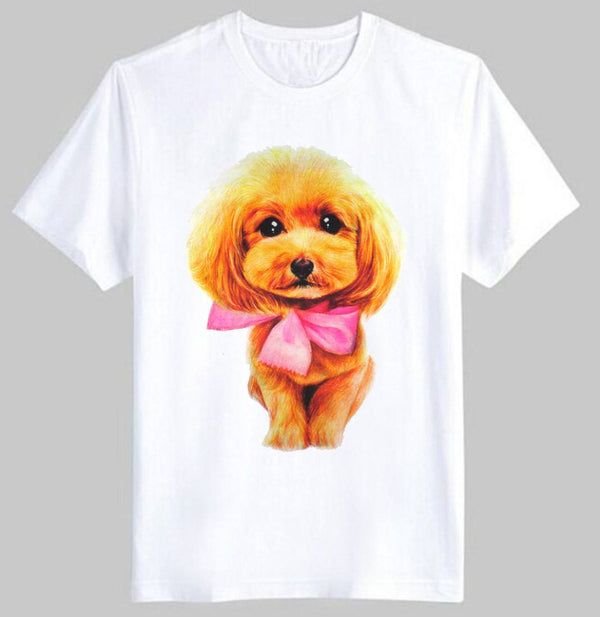 Adorable Toy Poodle Puppy Face Graphic Print T-Shirt in White | DOTOLY
