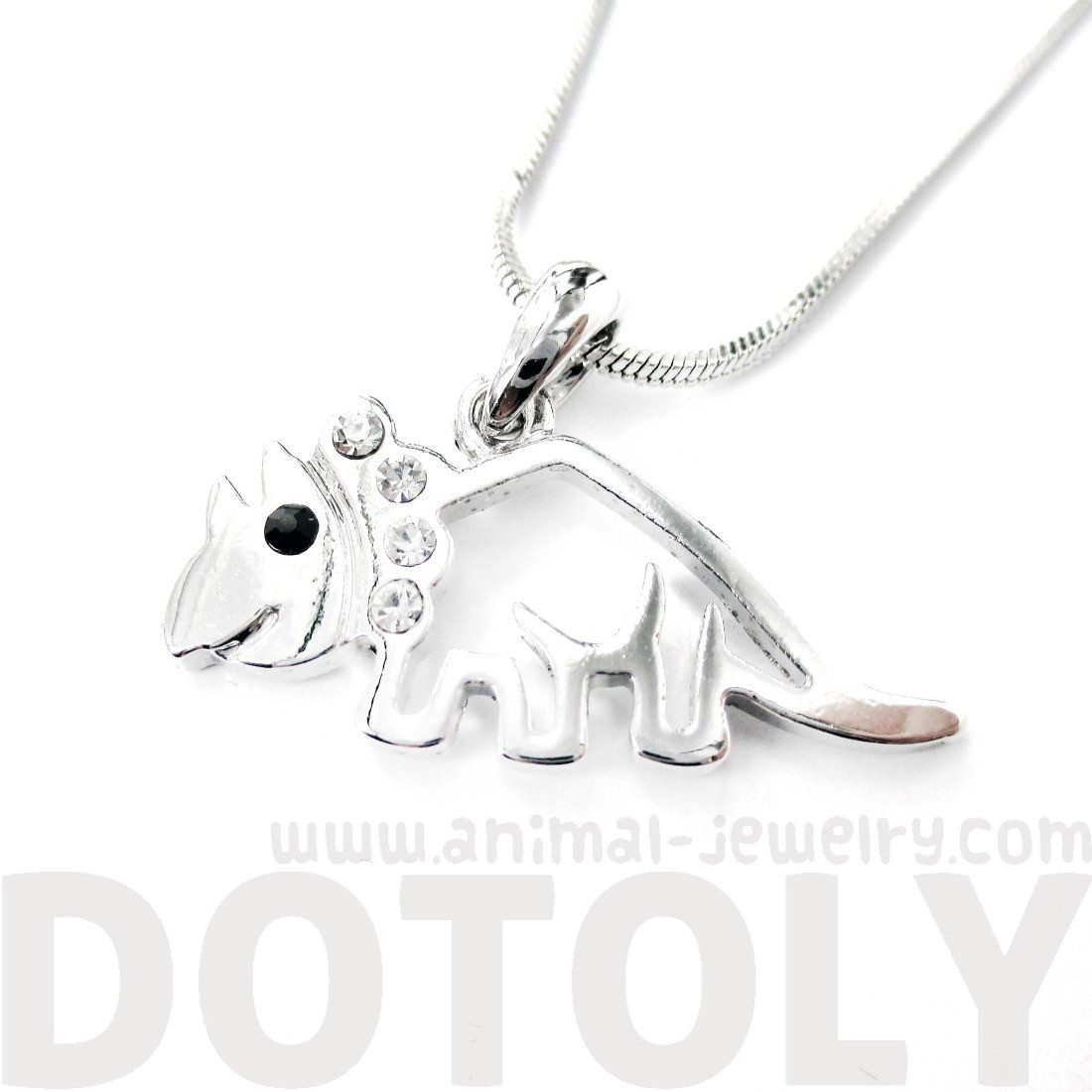 Triceratop Dinosaur Outline Prehistoric Animal Themed Pendant Necklace