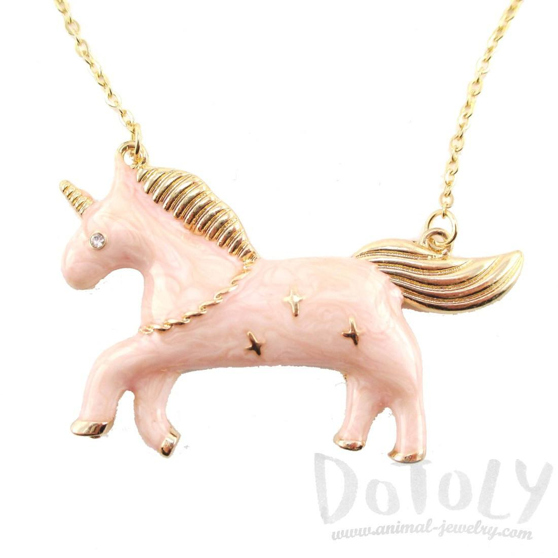 Adorable Unicorn Enamel Pendant Necklace in Pink