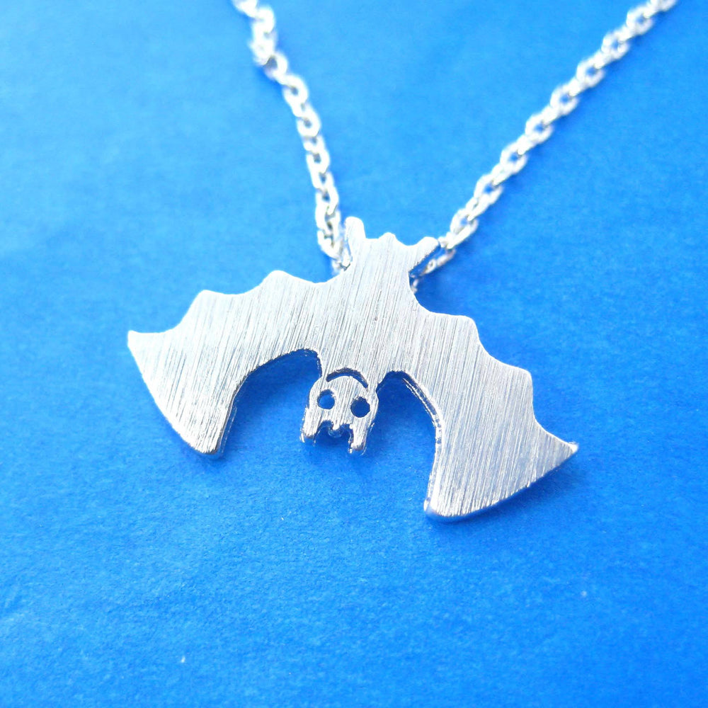 Adorable Upside Down Bat Shaped Animal Charm Necklace in Silver