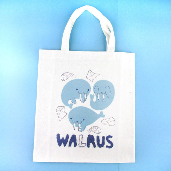 Adorable Walrus Illustrated Mini Canvas Lunch Tote Bag | DOTOLY