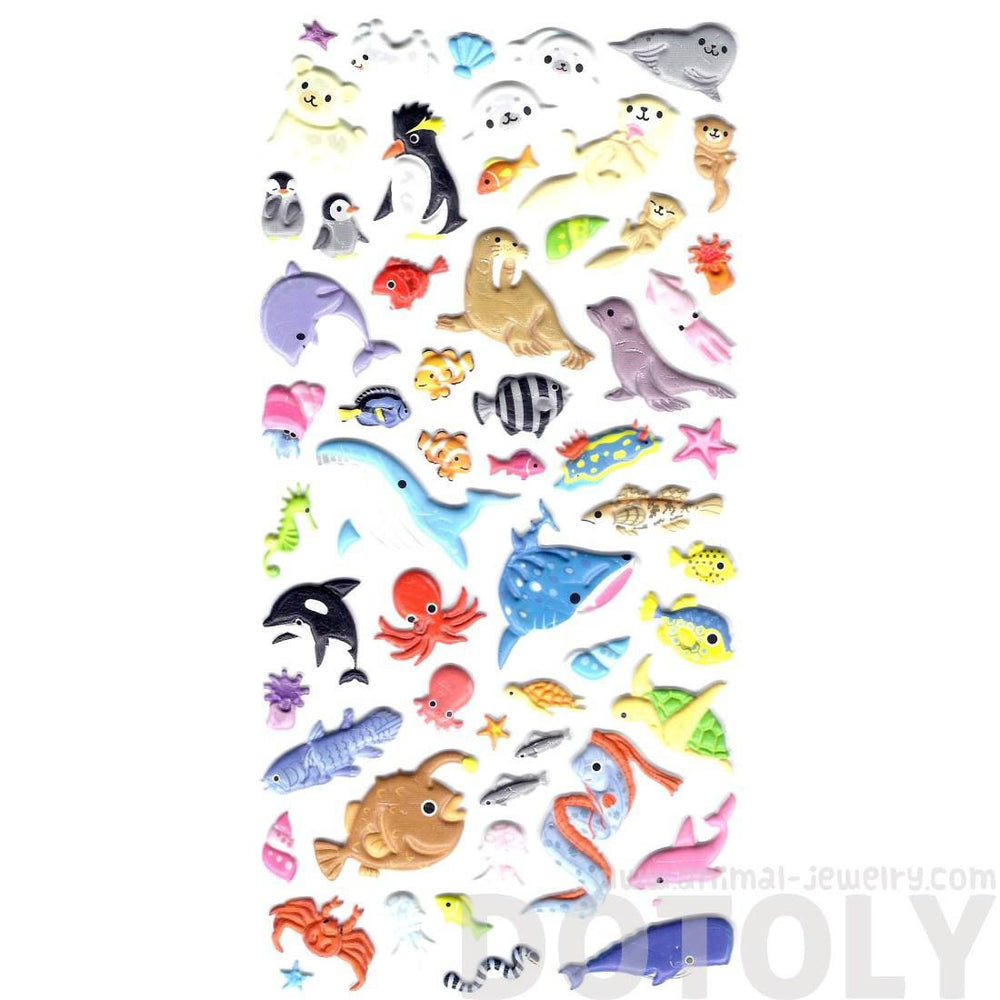 Adorable Whale Fish Walrus Otter Shaped Interactive Puffy Stickers