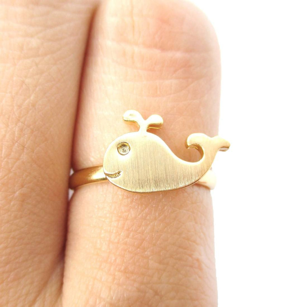 Adorable Whale Shaped Animal Inspired Adjustable Ring in Gold | Animal Jewelry | DOTOLY