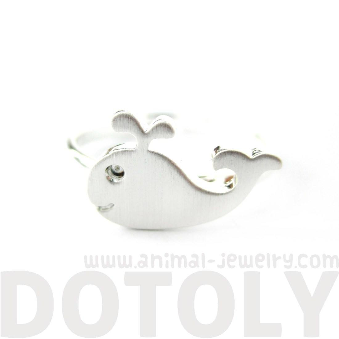 Adorable Whale Shaped Animal Inspired Silver Adjustable Ring | DOTOLY