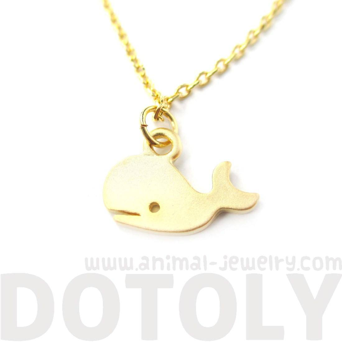 Adorable Whale Shaped Animal Inspired Charm Necklace in Gold | DOTOLY