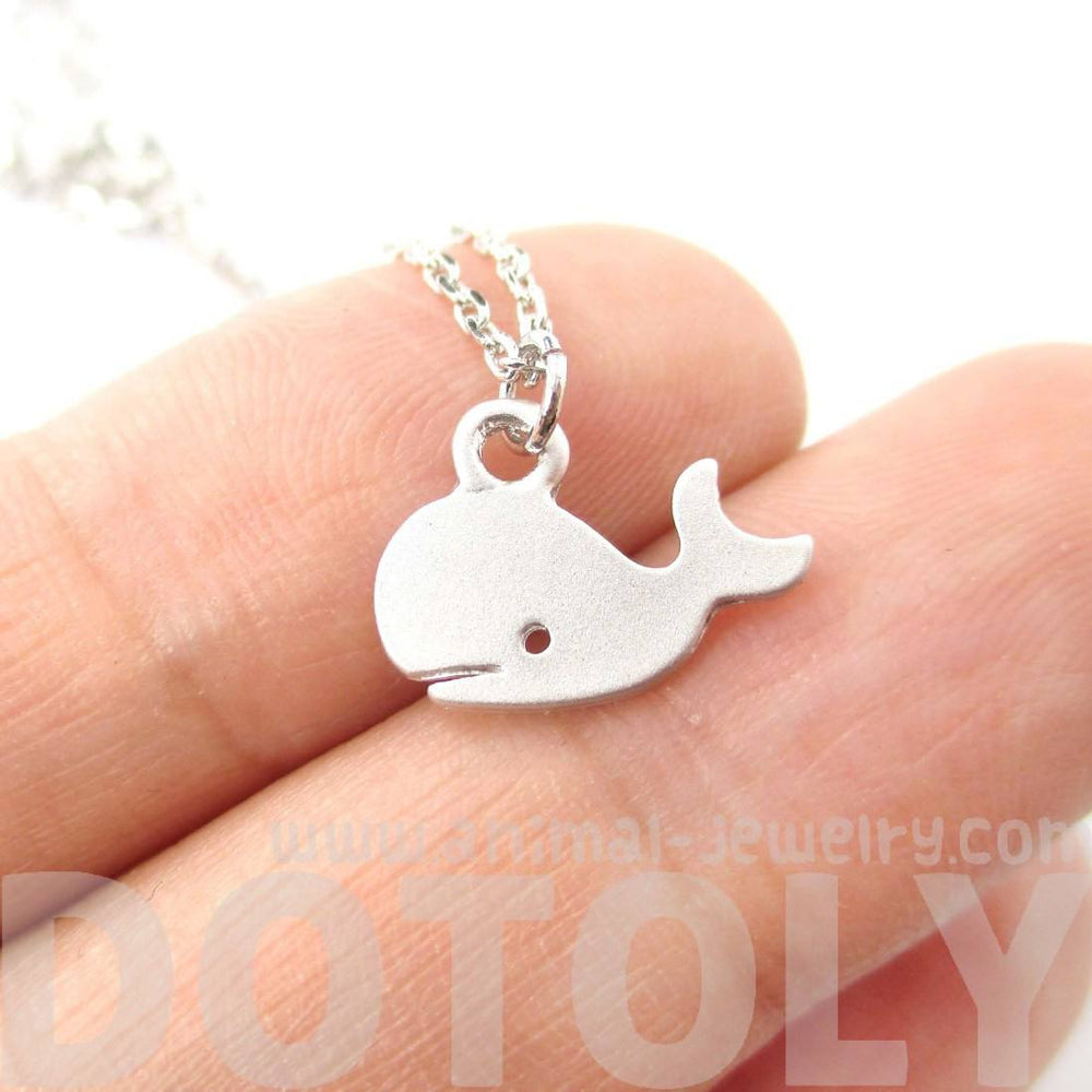 Adorable Whale Shaped Animal Inspired Charm Necklace in Silver