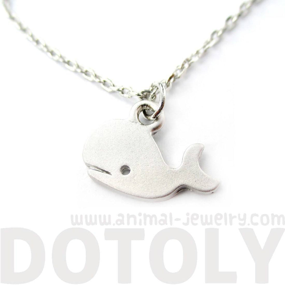Adorable Whale Shaped Animal Inspired Charm Necklace in Silver | Animal Jewelry | DOTOLY