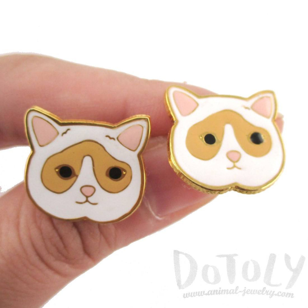 Adorable White and Tan Kitty Cat Face Shaped Stud Earrings | DOTOLY