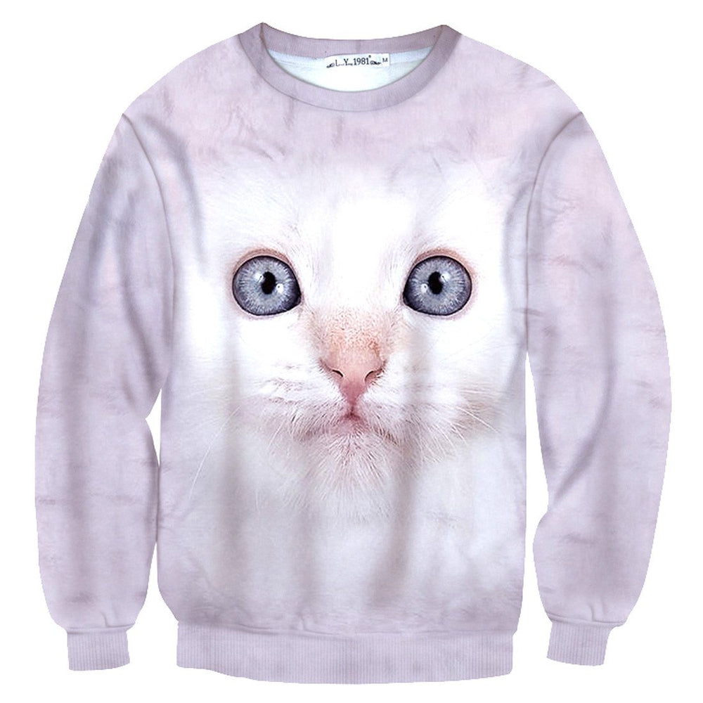 White Kitty Cat Face All Over Print Pullover Sweater