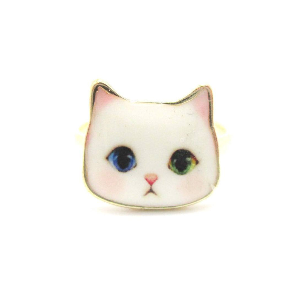 White Odd-eyed Kitty Cat Face Shaped Adjustable Ring