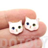 Cute White Odd-eyed Kitty Cat Face Shaped Stud Earrings