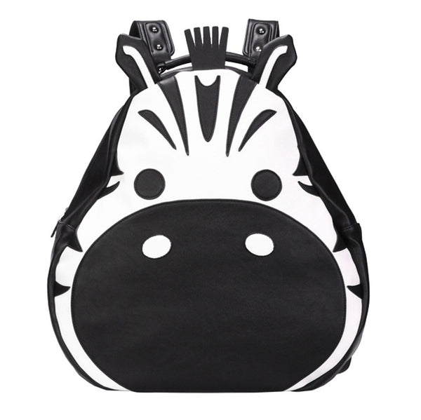 Adorable Zebra Face Shaped Animal Inspired Faux Leather Backpack