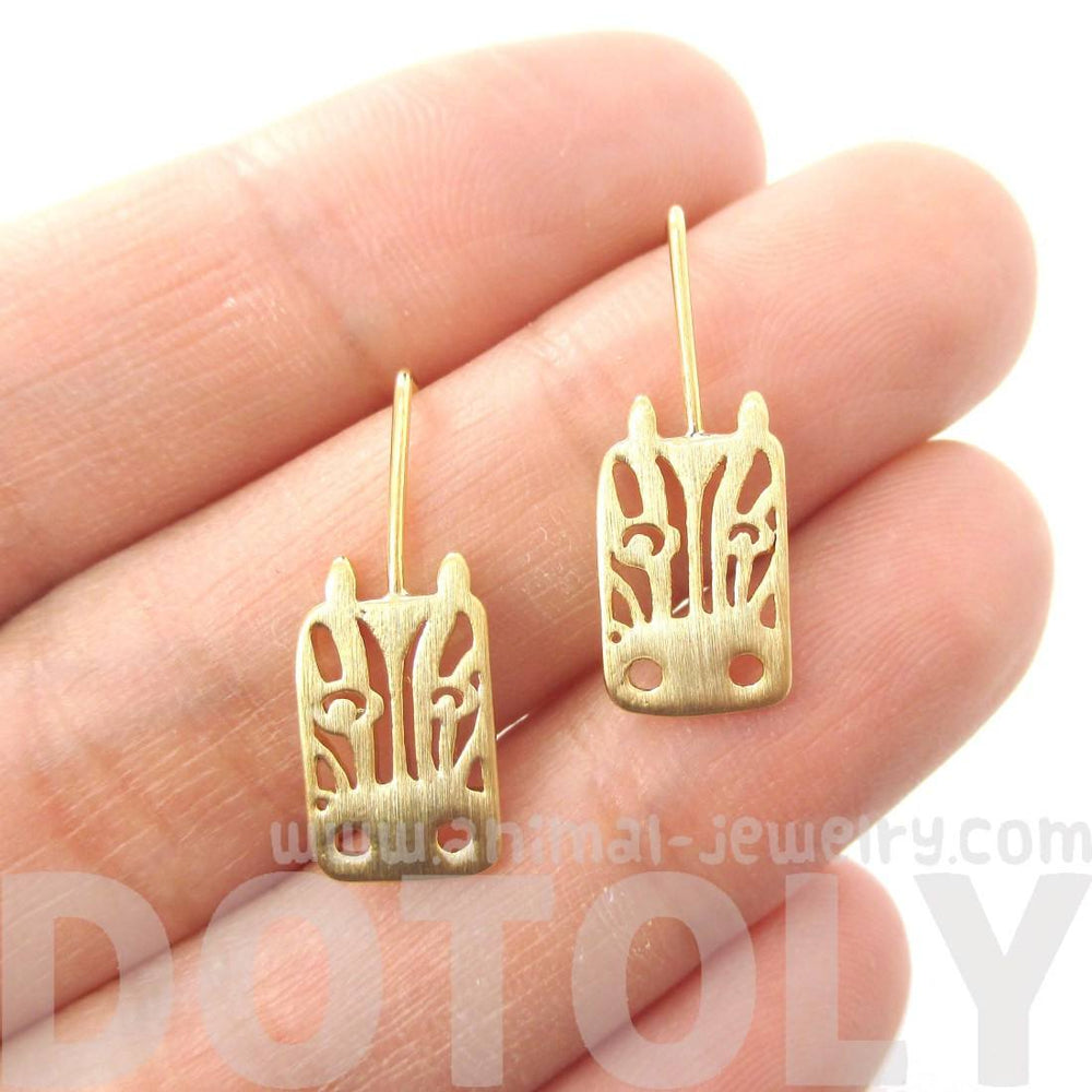 Adorable Zebra Face Shaped Stud Earrings in Gold