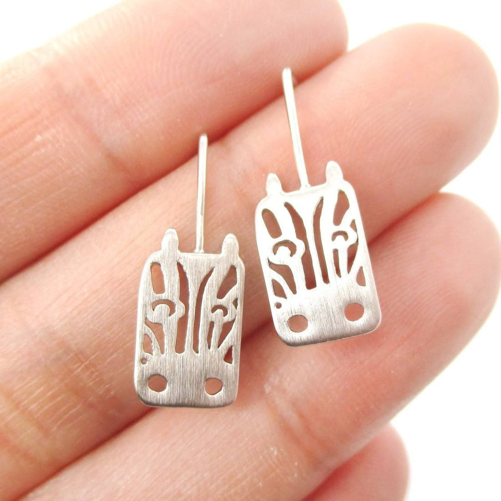 Adorable Zebra Face Shaped Stud Earrings in Silver