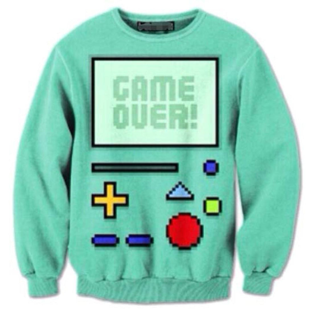 Adventure Time BMO Beemo Game Over All Over Print Crew Neck Pullover Sweater | DOTOLY | DOTOLY