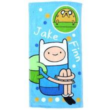 Adventure Time Finn and Jake Print Handkerchief Cotton Towel in Blue