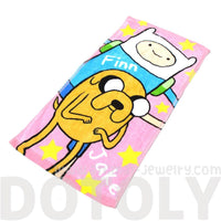 Adventure Time Finn and Jake Print Handkerchief Cotton Towel in Pink