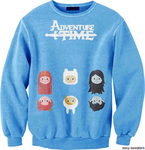 Adventure Time Finn Princess Bubblegum Marceline Print Crew Neck Pullover Sweater in Blue | DOTOLY | DOTOLY