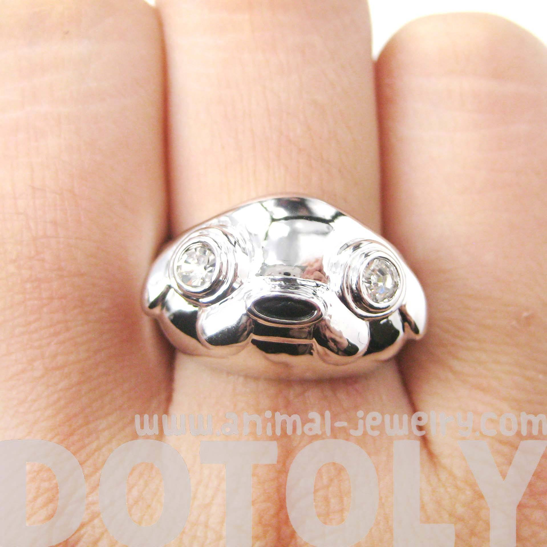 Adventure Time Jake The Dog Shaped Cartoon Animal Ring in Silver | DOTOLY
