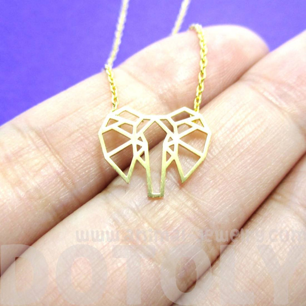 African Elephant Face Outline Necklace in Gold