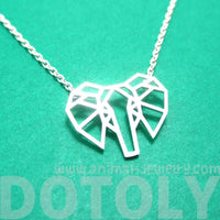 African Elephant Face Outline Shaped Pendant Necklace in Silver | DOTOLY | DOTOLY