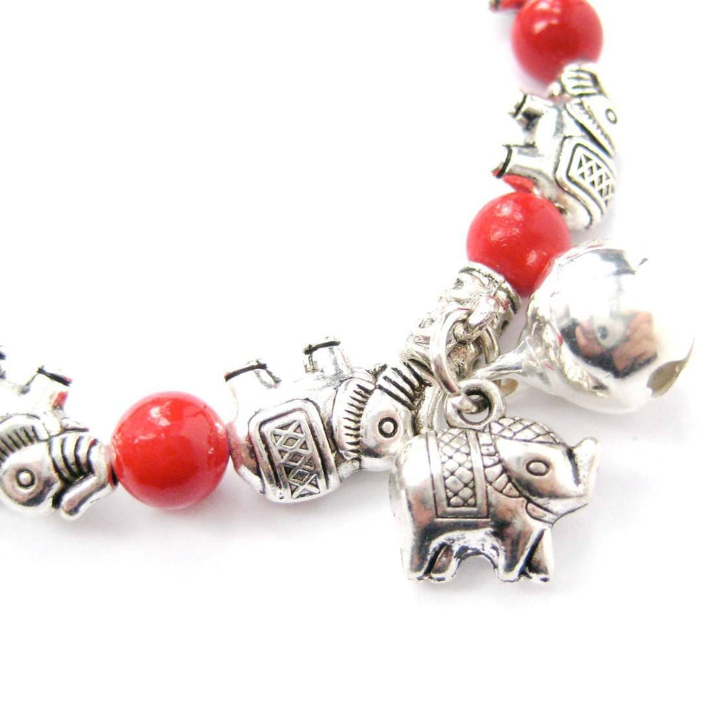 African Elephant Shaped Stretchy Beaded Charm Bracelet in Silver