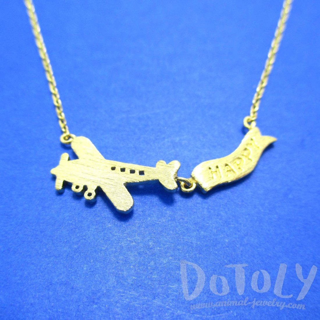 Airplane Happy Banner Shaped Charm Necklace in Gold