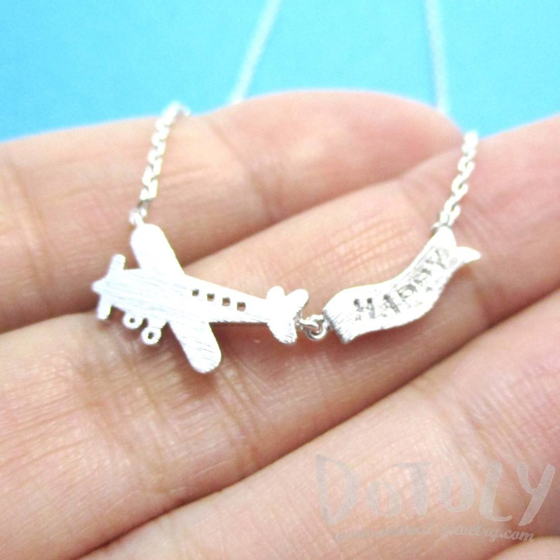 Airplane Happy Banner Shaped Charm Necklace in Silver
