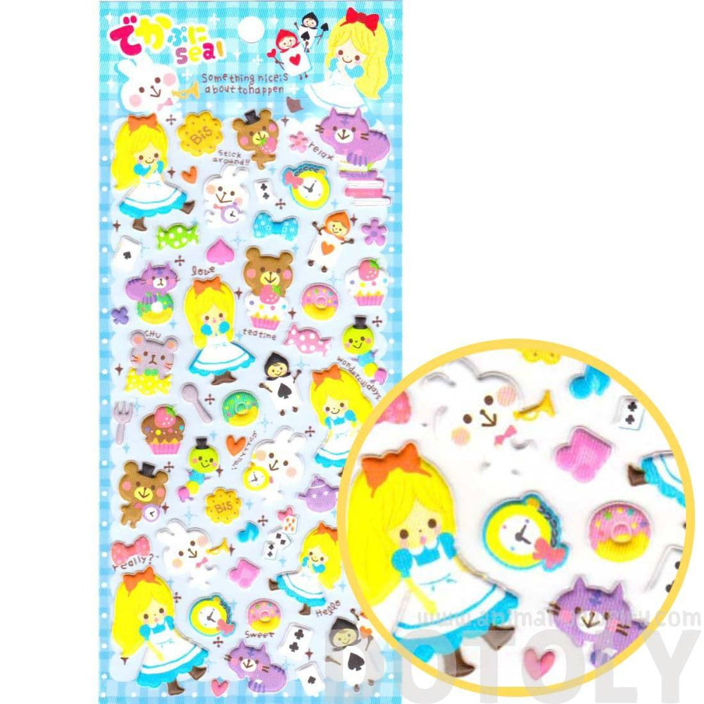 Alice in Wonderland Bunny Cat Teacup Fairy Tale Themed Spongy Stickers for Scrapbooking | DOTOLY