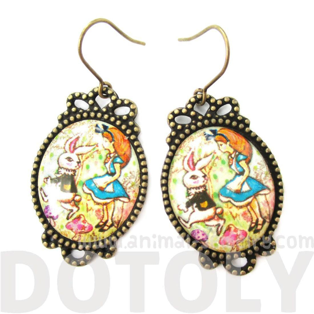 Alice in Wonderland Themed Bunny Rabbit Whimsical Illustrated Earrings